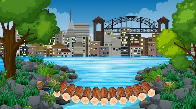 City and jungle background scene