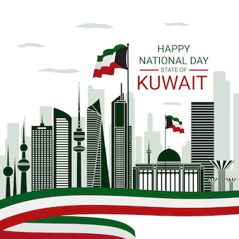 City of kuwait flat design national day