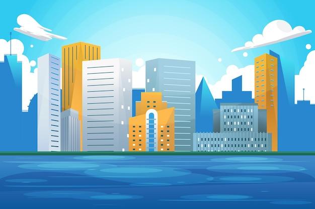 ビデオ会議のための都市のランドマークの背景