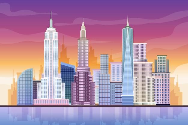 도시 랜드 마크-화상 회의 배경