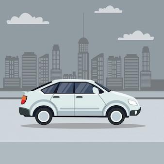 도시 풍경과 거리에서 고전적인 흰색 차
