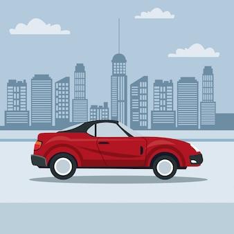 거리에서 도시 풍경과 스포츠 컨버터블 자동차