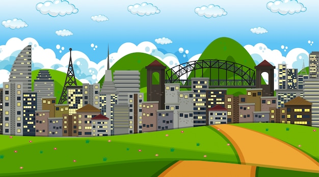City landscape background scene