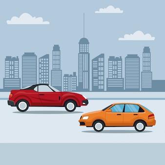 거리에서 스포츠 컨버터블 차량과 클래식 자동차와 도시 풍경 배경