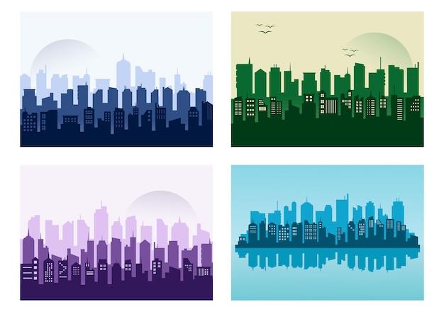 都市景観の建物のシルエットイラスト