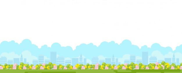 都市景観。緑豊かな庭園と町の漫画都市公園のパノラマビュー。木と平らなスカイラインのある屋外レクリエーション風景
