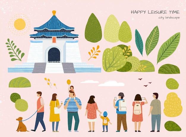 都市景観中正紀念堂ツーリングイラストセット台湾旅行コンセプト