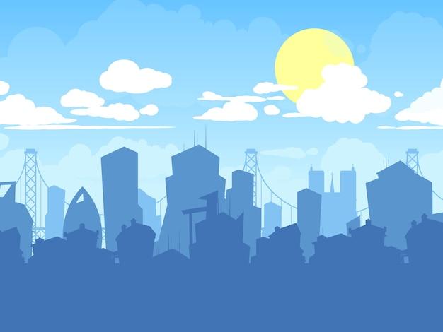 都市景観。現代住宅のシルエットと曇り都市背景