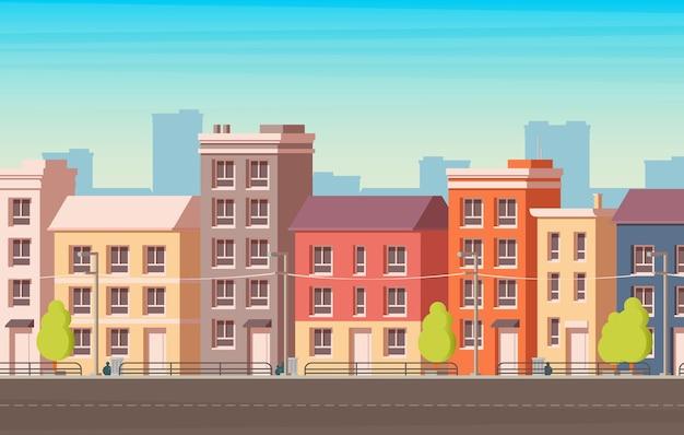 都市景観。ファサードの建物。ベクトルイラスト