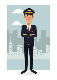 カラフルなフルボディの都市景色のフレームの背景ひげのある男のパイロット