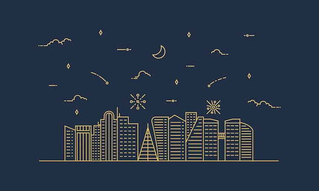 City landscape illustration with a thin line style. thin line city landscape.
