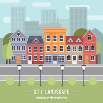 Городской пейзаж в плоском дизайне