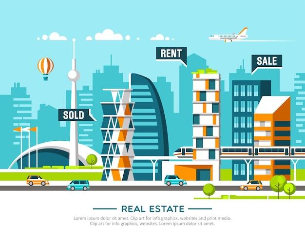 Городской пейзаж. бизнес-концепция недвижимости и строительства с домами.
