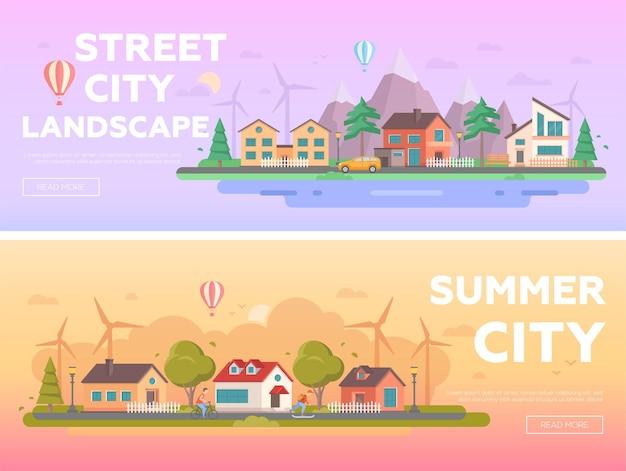 Городской пейзаж - набор современных плоских векторных иллюстраций с местом для текста. два варианта пейзажей с небольшими постройками, ветряными мельницами, людьми, горами, холмами, скамейками, фонарями, деревьями, воздушными шарами.