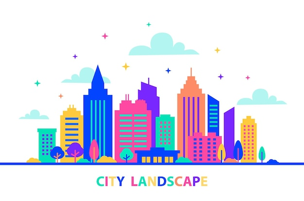 City landscape silhouettes of buildings with neon glow and vivid colors