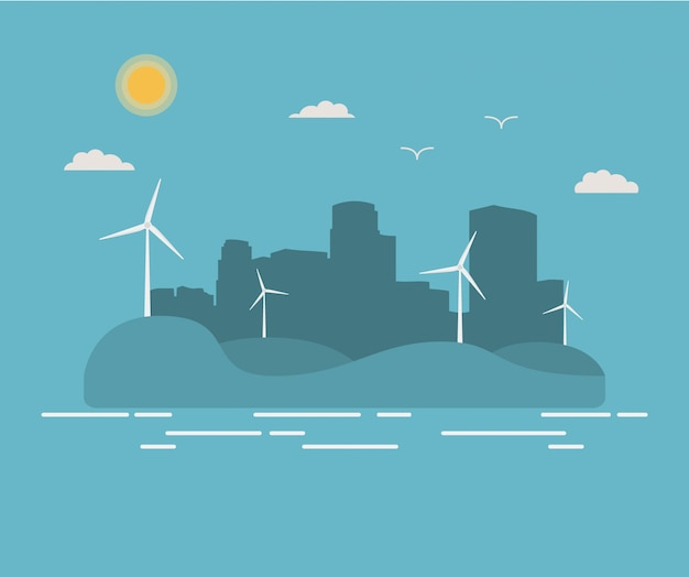 都市景観の超高層ビル風力発電機都市シルエット。