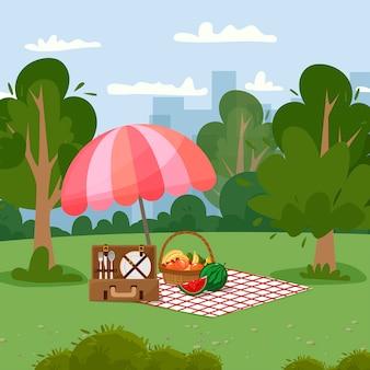 Городской пейзаж зонтик одеяло корзина для пикника с фруктами и багет чемодан с посудой