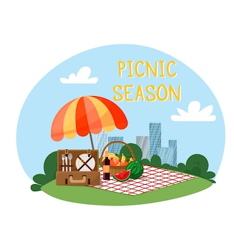City landscape umbrella blanket picnic basket with fruit and baguette  suitcase with utensils