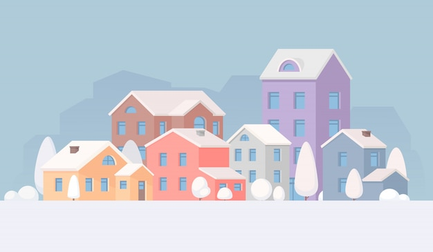 City landscape in the winter. town. houses and trees in the snow
