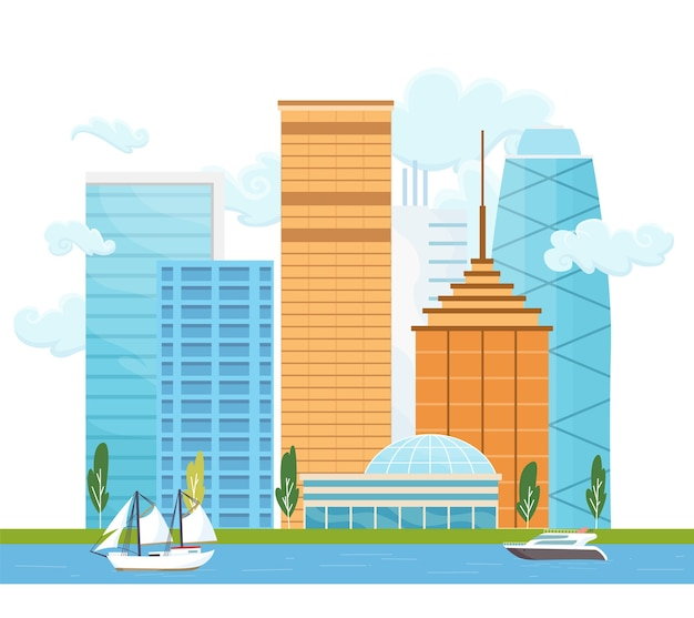 建物や木々のある街の風景。近代的な高層ビルと船やヨットのある川のある都市景観。最小限の幾何学的なフラットスタイル。