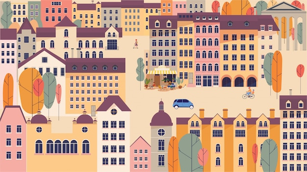 Городской пейзаж со зданиями и деревьями векторная иллюстрация в простом минималистичном геометрическом плоском стиле.