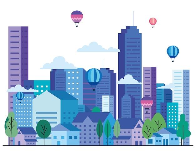 建物のある都市景観には、熱気球の木と雲のデザイン、建築、都市のテーマがあります