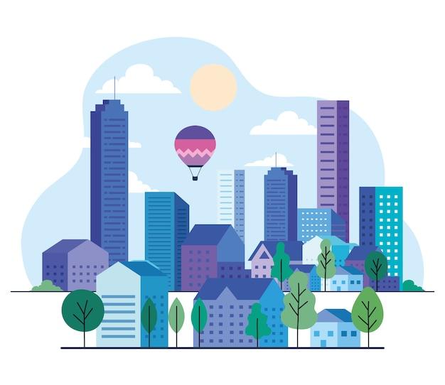 建物のある都市景観には、熱気球、太陽と雲のデザイン、建築、都市のテーマがあります。