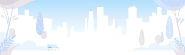 건물, 공원, 벤치, 나무와 도시 풍경