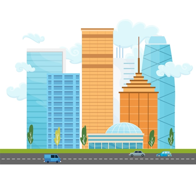 City landscape with buildings and trees. urban landscape with modern skyscrapers and street with cars. minimal geometric flat style.