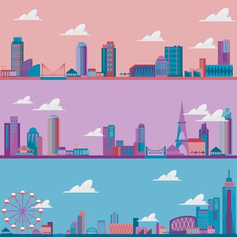 City landscape with different sky illustration.