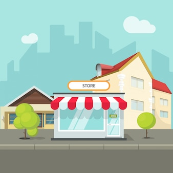 City landscape with houses and buildings on street with shop or store vector flat cartoon