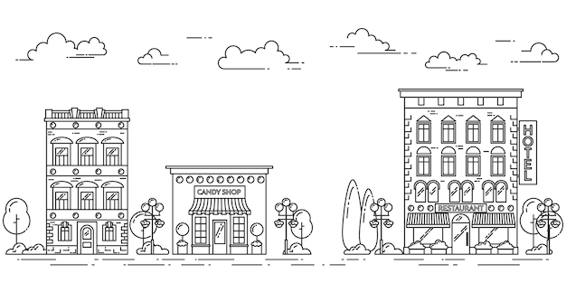 City landscape with houses, cafe, trees, clouds. vector illustration. flat line art.