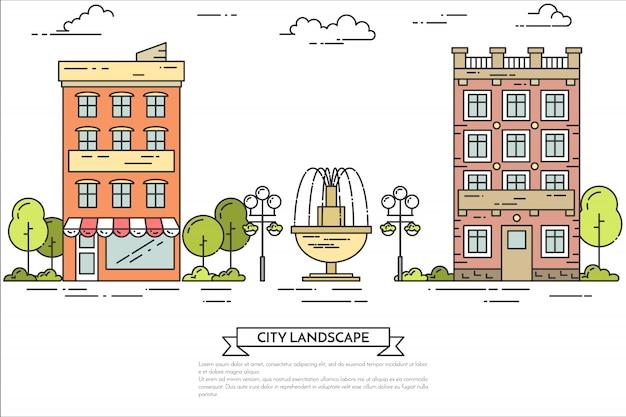 City landscape with houses, central public park.