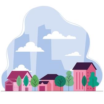家の木と雲のデザイン、建築、都市をテーマにした都市景観