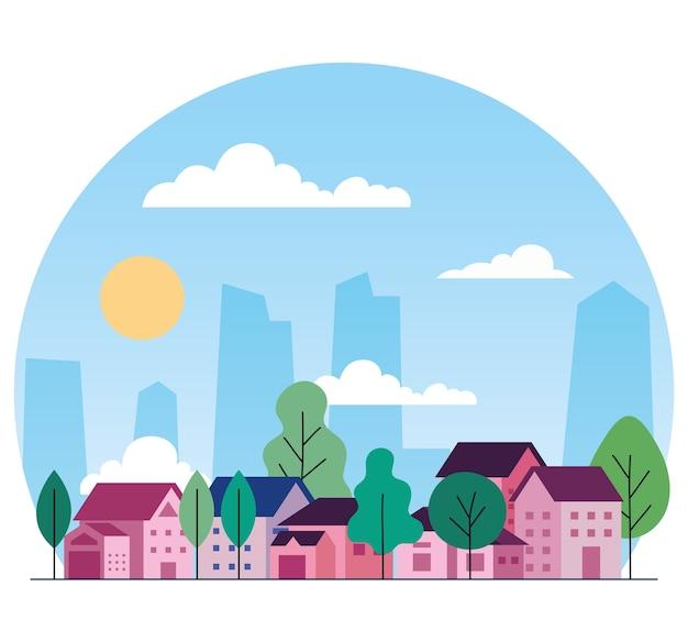 家の木、雲、太陽のデザイン、建築、都市をテーマにした都市景観