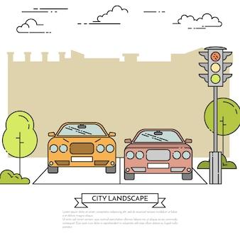 Городской пейзаж с современными автомобилями на дороге возле светофора.