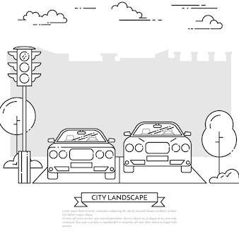 City landscape with modern cars on the road near traffic light in line art style.