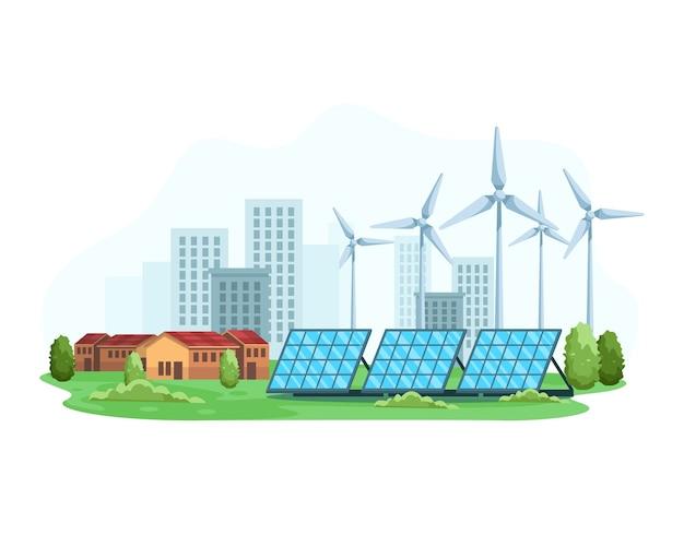 신 재생 에너지의 개념으로 도시 풍경. 친환경 에너지는 친환경 태양 광 발전과 풍력 터빈입니다. 청정 및 대체 에너지, 스마트 시티 개념. 플랫 스타일로
