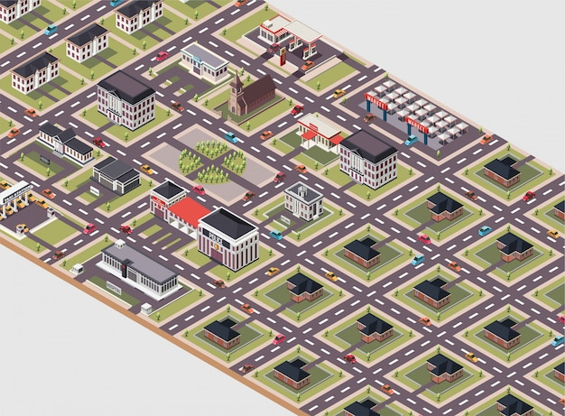 A city layout with various types of buildings isometric illustration