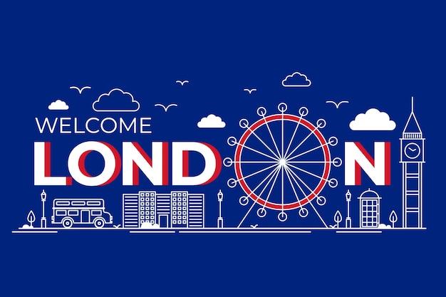 Городская надпись лондона и основные достопримечательности