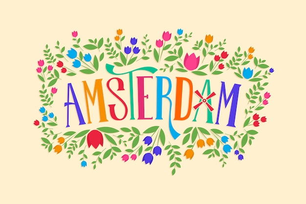 City lettering with amsterdam concept