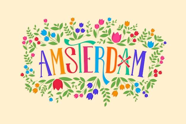 アムステルダムの概念と都市のレタリング