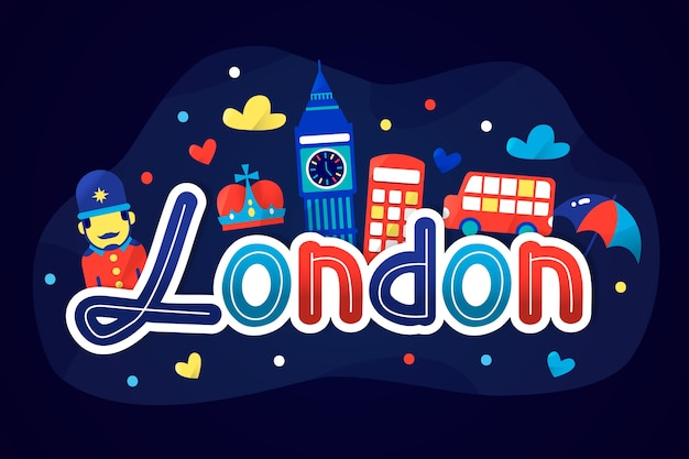 City lettering with london touristic attractions
