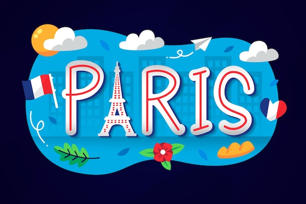City lettering with paris word
