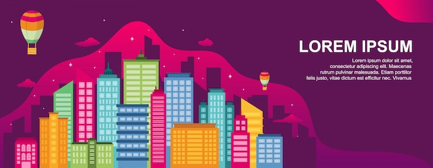 City life concept cityscape landmark horizontal illustration template