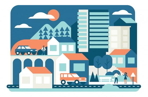 都市生活のイラスト。集合住宅、宿泊施設。都市景観、車のある道路。