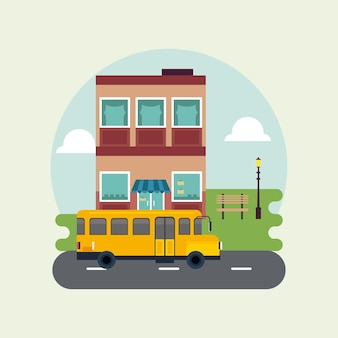建物とスクールバスのイラストと都市生活メガロポリスの街並みシーン
