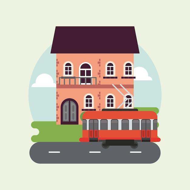 建物とトロリー車のイラストと都市生活メガロポリスの街並みシーン