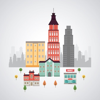 建物と市場のイラストと都市生活メガロポリスの街並みシーン