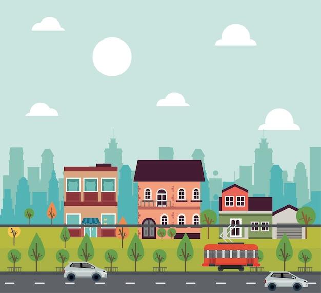 建物や車両のイラストと都市生活メガロポリスの街並みシーン